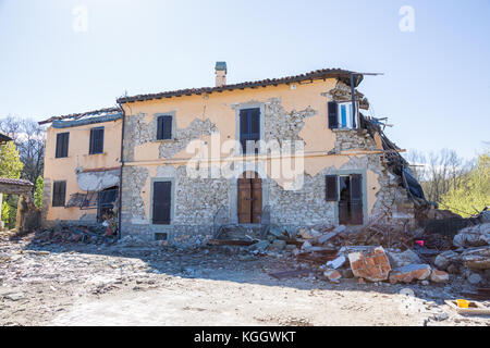 Cascello of Amatrice,Italy. 29 April 2017. The damage caused by the earthquake that hit central Italy in 2016. Cascello - Stock Image