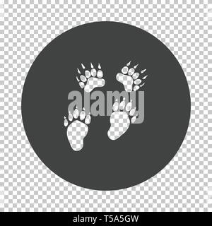 Bear trails  icon. Subtract stencil design on tranparency grid. Vector illustration. - Stock Image