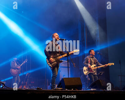 Repentigny,Canada. Boom Desjardinsof the rock group La Chicane performs on stage for the Saint-Jean-Baptiste festivities in Repentigny. - Stock Image