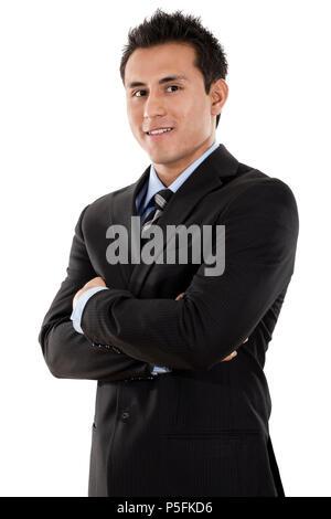 Confident Hispanic businessman isolated on white background - Stock Image