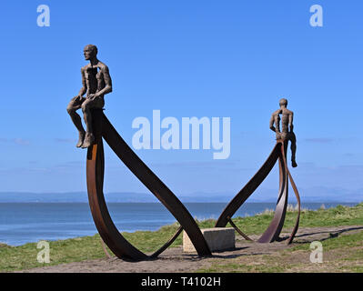 'Ship', metal sculpture by Anna Gillespie, 2019. Half Moon Bay, Heysham, Lancashire, England, United Kingdom, Europe. - Stock Image