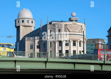 Urania Observatory Vienna, designed in 1910 by art nouveau architect Max Fabiani, the Urania building in Vienna still functions as an observatory. - Stock Image