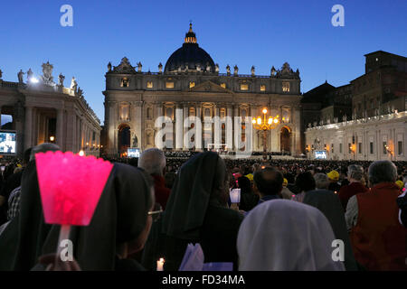 Vatican City. 3rd Oct., 2015. the preach of the pope Francis before the Synod on the family, St. Peter's Square, - Stock Image