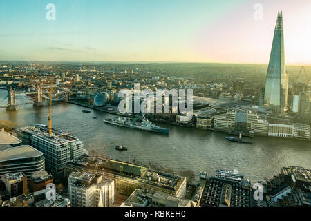 Elevated view of part of central London, England, including The Shard, HMS Belfast, City Hall, Tower Bridge, Southwark, London Bridge City Pier, - Stock Image