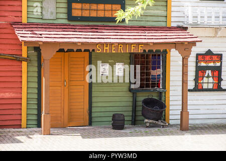 old western ghost town wooden sheriff house - Stock Image