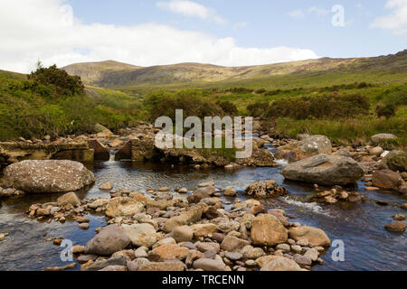 Mahon River cutting its way through Mahon Valley rocks in Comeragh Mountains.County Waterford,Ireland. - Stock Image