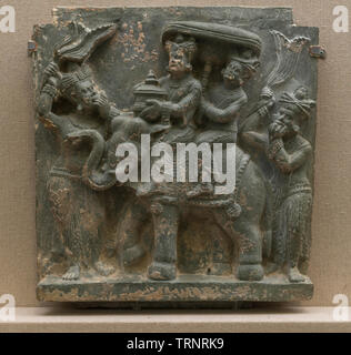 Architectural Panel in Green Schist Depicting A Cupid. 1st-3rd Century. Butkara, Swat, Pakistan.  Department of Archaeology and Museums - Stock Image