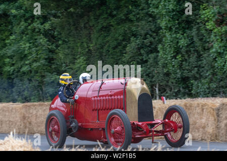 The1911 Vintage Art Deco Fiat S76 'Beast of Turin'GP roars up the track on the hill climb  driven by Duncan Pittway at Goodwood Festival of Speed 2019 - Stock Image