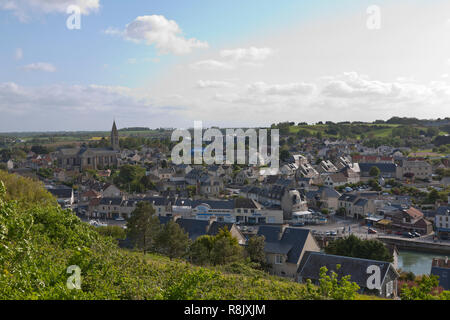 Aerial view of Port-en-Bessin-Huppain, Calvados, Normandy, France. A clearing spring evening sky. Harbour and the English Channel farther to the right - Stock Image