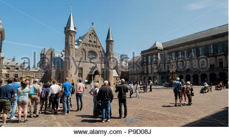 The Hague / Den Haag The Netherlands Binnenhof and Ridderzaal. Panorama. - Stock Image