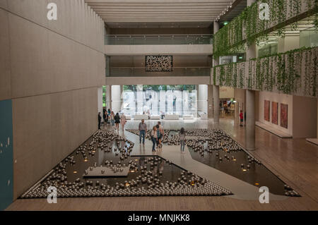 Installations in the atrium of the Queensland Art Gallery, Brisbane, Queensland, Australia, May 2018 - Stock Image