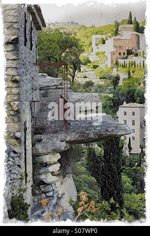 Dramatic view from a cliff-top village in Provence. - Stock Image