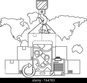 box with crane hook, cellphone with map and location pointer and checklist vector illustration graphic design - Stock Image