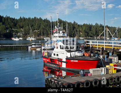 Canadian Coast Guard vessel 'Cape Naden' docked in Ganges harbour on Salt Spring Island, BC, Canada. - Stock Image