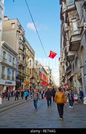 Istiklal Caddesi, Beyoglu, Istanbul, Turkey, Eurasia - Stock Image