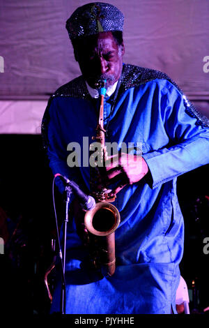 Philadelphia, USA. 08th Sep, 2018. Members of cosmic and experimental jazz ensemble Sun Ra Arkestra, conducted by the 94 year old Marshall Allen, perform on stage in Philadelphia, PA, on September 8, 2018. Credit: PhotograPHL/Alamy Live News - Stock Image