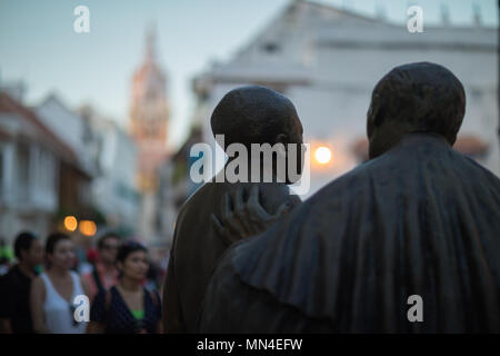 Statue of San Pedro Claver in Plaza San Pedro Claver, the Old Town, Cartagena, Colombia - Stock Image