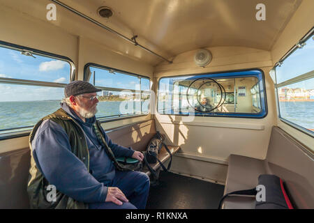 Inside the passenger train on Southend Pier. - Stock Image