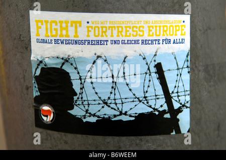 fight fortress europe anti-fascist action sticker berlin germany deutschland rebellion revolution  anarchism communism - Stock Image