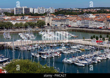 High level view of the Vieux Port of La Rochelle on the coast of the Poitou-Charentes region of France. - Stock Image