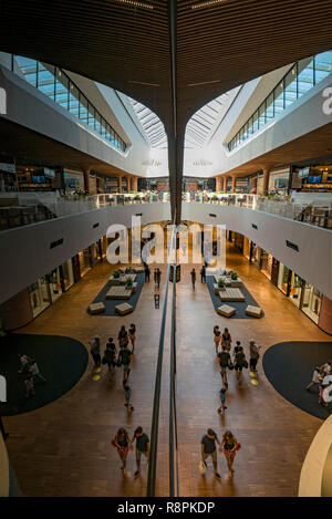 Vertical view inside the CityLife shopping centre in Milan, Italy. - Stock Image