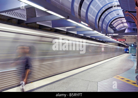 Los Angeles CA California  Red Line Subway moving station heavy rail subway lines Red, Green, Orange, Purple lines - Stock Image