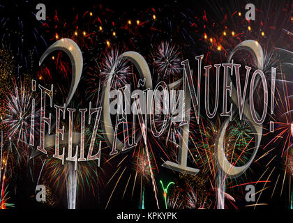 ¡Feliz Año Nuevo! Fireworks 2018 Happy New Year in Spanish. New Years concept available in Spanishl without - Stock Image