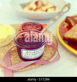Homemade jam breakfast scene - Stock Image