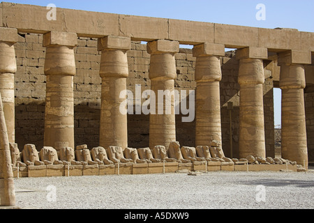 Avenue of Ram Sphinxes in to the Temple of Karnak, Luxor, Egypt - Stock Image