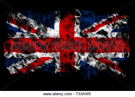 Smoking flag of Great Britain - Stock Image