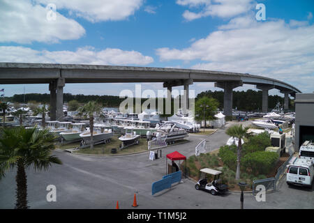 Display of boats at the annual Yacht and Boat Show at The Wharf in Orange Beach, Alabama, USA. - Stock Image