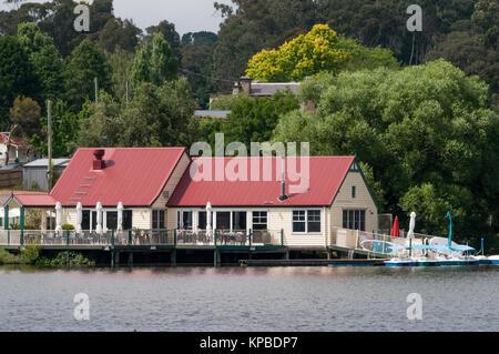 Historic Boathouse Cafe on Lake Daylesford, Victoria, Australia, rebuilt since a 2012 fire - Stock Image
