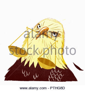 Angry bald eagle with scales of justice in beak - Stock Image