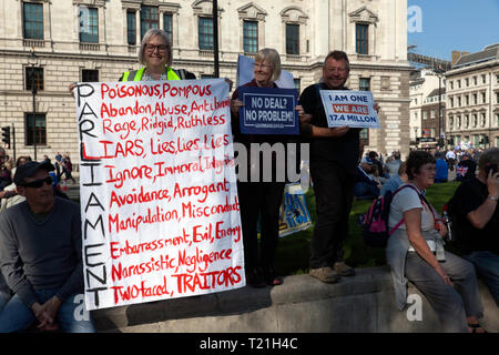 Protestors  with an anti-parliment banner,  demonstrate against the delay to Brexit  on the day the UK was  supposed  to leave the EU - Stock Image
