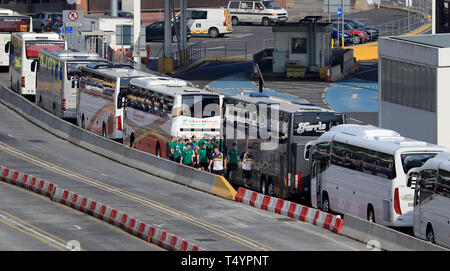 Cars and coaches at the Port of Dover in Kent, Good Friday will be the busiest Easter holiday travel day as many people make the most of the long weekend. - Stock Image