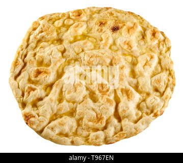Whole round Roman pizza bianca, or white pizza, with virgin olive oil and salt viewed top down isolated on white - Stock Image