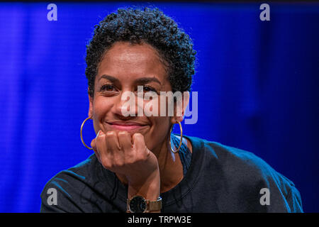 Bonn, Germany - June 8 2019: Dominique Tipper (*1987, British actress, singer-songwriter and dancer - The Expanse) at FedCon 28, a four day sci-fi convention. FedCon 28 took place Jun 7-10 2019. - Stock Image