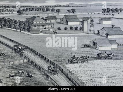 Sacramento County California Farm Views - 1880 - Thompson & West Print - Valensin Farm and Trotter Race Track - Stock Image