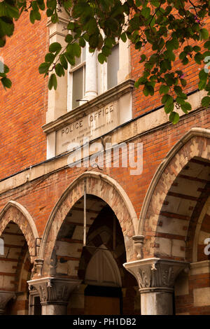 Gibraltar, Irish Town, old Victorian gothic revival Police Station building - Stock Image