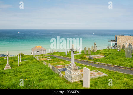 Barnoon Cemeter, St Ives, Cornwall, England, looking out to sea - Stock Image