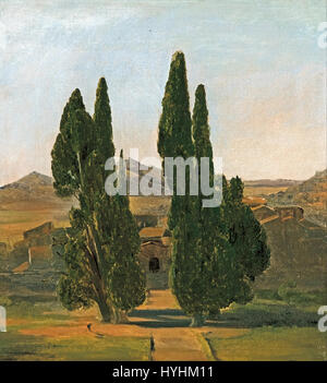 Charles Eastlake   Cypress trees at the Villa d'Este   Google Art Project - Stock Image
