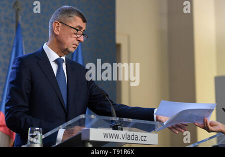 Prague, Czech Republic. 16th May, 2019. Czech Communist (KSCM) deputy Zdenek Ondracek's trip to eastern Ukraine dominated by pro-Russian separatists is not in harmony with the Czech foreign policy, Prime Minister Andrej Babis (ANO) (pictured) told journalists in Prague, Czech Republic, May 16, 2019. Credit: Ondrej Deml/CTK Photo/Alamy Live News - Stock Image