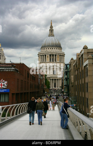 St Paul's Cathedral. View from the Millennium Bridge, London, UK - Stock Image