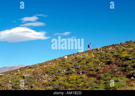 Woman Hiking in El Calafate Argentina - Stock Image