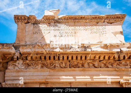 Ancient Greek text from Ephesus, - Stock Image