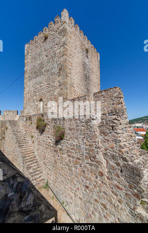 Portalegre, Portugal. Tower or watchtower in the keep of Castelo de Portalegre Castle with staircase in the ruins of walls. Alto Alentejo - Stock Image
