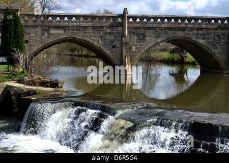 Bathampton Weir and Toll Bridge, also known as Batheaston Toll Bridge and Bathwick Weir. - Stock Image