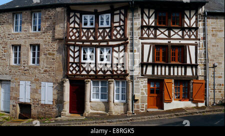 very old building in the historic picturesque medieval town of Moncontour, Brittany, Northern France. A very pretty - Stock Image