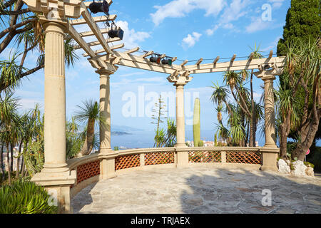 MONTE CARLO, MONACO - AUGUST 20, 2016: The exotic garden, botanical garden terrace with sea view and tropical plants in a sunny summer day in Monte Ca - Stock Image