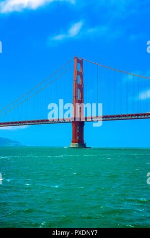 The Golden Gate Bridge as seen from San Francisco Bay, California, USA - Stock Image
